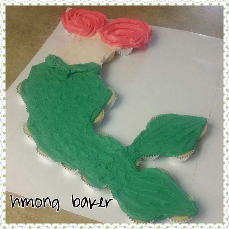 MERMAID PULL APART CUPCAKE CAKE. Cake Decorating.