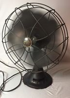 """Vintage EMERSON ELECTRIC 77646 AS 12"""" 3-SPEED oscillating Fan 1948 version works"""
