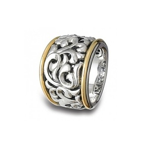 Charles Krypell Sterling Silver & 18k Gold Ivy Ring 3-6652-SG