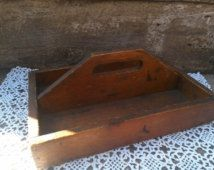 Early Antique Wooden Silverware Primitive Tray Wooden Box, Garden Tray, Knife Box, Farmhouse Box, Utility Box, Country Decor,