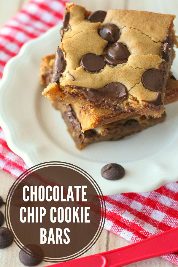 Chocolate Chip Cookie Bars (aka Pan Chewies) - our family's go-to Sunday Night Dessert! #cookiebars