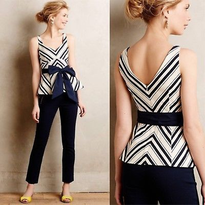 Anthropologie-Maeve-Women-039-s-Mitered-Stripe-Peplum-Blouse-Top-shirt-Bow-SIZE-12
