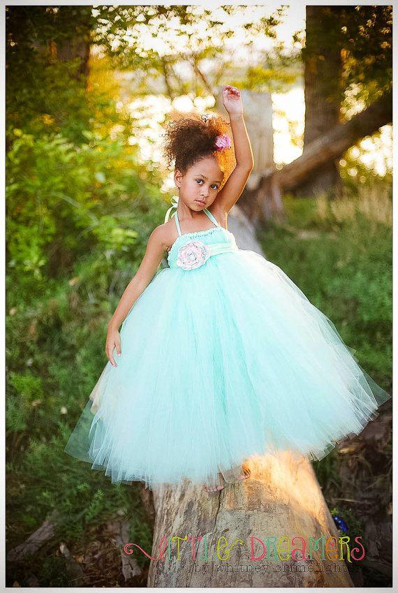 Mint Flower Girl Tutu Dress with Flower Sash by littledreamersinc