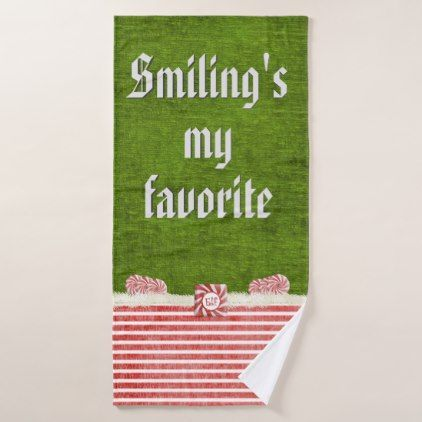 """Smiling's my favorite"" Christmas Elf Quote Bath Towel Set  home"