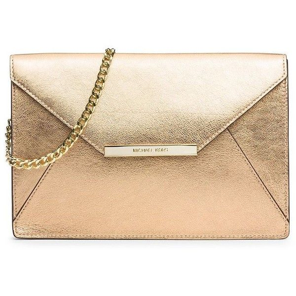 MICHAEL MICHAEL KORS Lana Metallic Leather Envelope Shoulder Clutch found on Polyvore featuring bags, handbags, clutches, apparel & accessories, pale gold, beige envelope clutch, envelope clutch bag, metallic handbags, envelope clutch and metallic purse