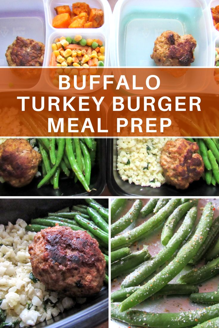 Lean, mean buffalo turkey burger meal prep with low-carb cilantro lime cauliflower rice and oven roasted garlic lemon green beans.