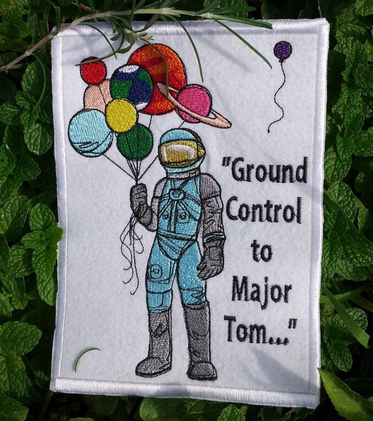 Astronaut with Solar System/Bowie Quote Patch by HourGlassSewing on Etsy