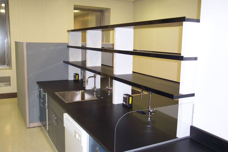 reagent shelving with spill lips laboratory faucets