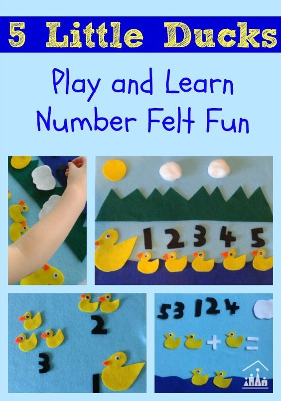 5 Little Ducks Play and Learn Number Felt Fun. A fun nursery rhyme inspired activity to teach kids of all ages about numbers and simple sums.