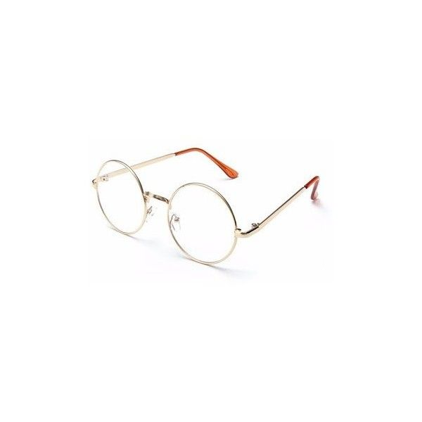 Unisex Retro Big Round Metal Frame Clear Lens Glasses Spectacles... (€5,36) ❤ liked on Polyvore featuring accessories, eyewear, eyeglasses, gold, retro eyeglasses, retro glasses, rounded glasses, retro clear glasses and retro eye glasses