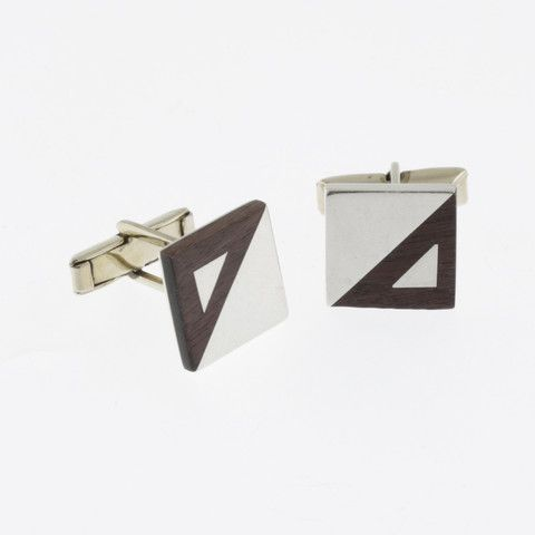 Sterling silver and timber square cufflinks by Sky with Diamonds | Sky with Diamonds