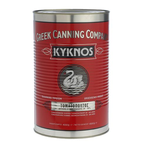 Kyknos 	Tomato paste double concentrated (28-30 brix) in metal can 4550g.