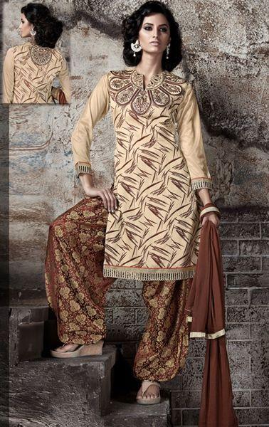 Flamboyant Beige and Brown Patiala Salwar Kameez                              …