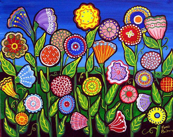 Divertido campo de colores Funky flores por reniebritenbucher