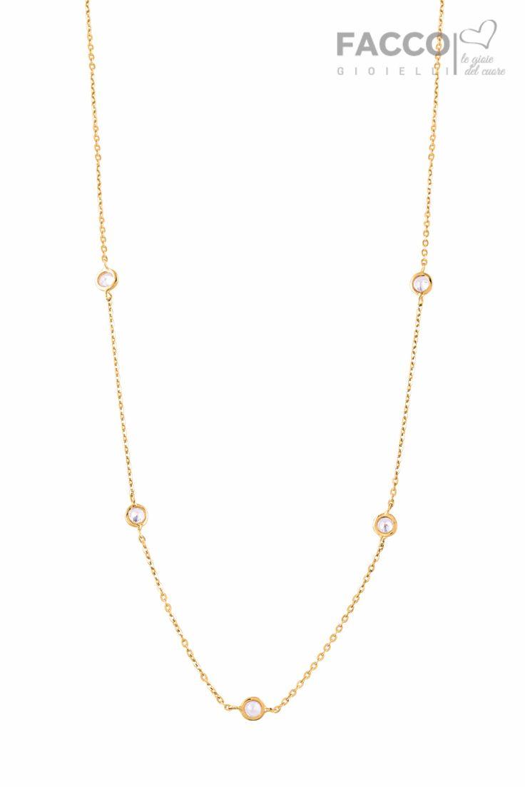Collana donna, Facco Gioielli, in oro giallo 750‰, con zirconi punto luce.