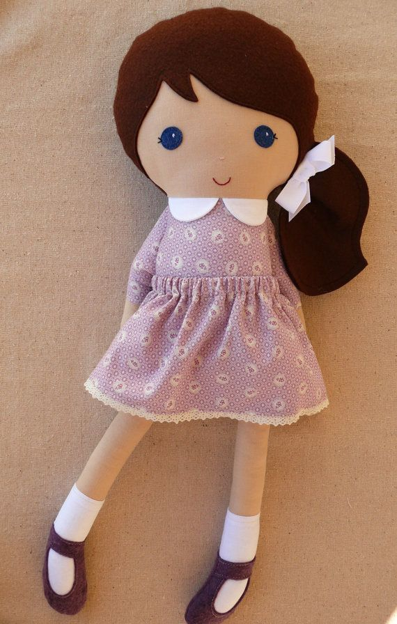 Fabric Doll Cloth Doll Brown Haired Girl in Old Fashioned Lilac Dress
