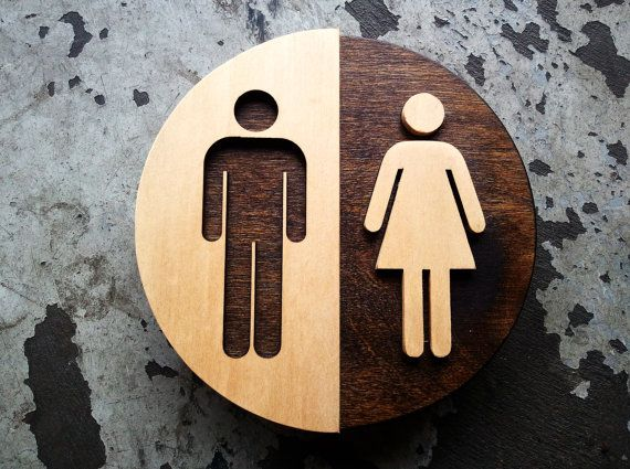 round wood unisex bathroom sign office restroom wc signage 6 or 9 diameter raised characters original modern design