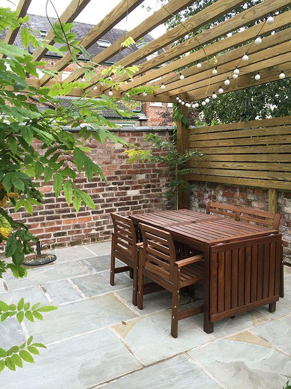 The Garden: After [The Planting] // Contemporary Patio // IKEA garden furniture // Pergola