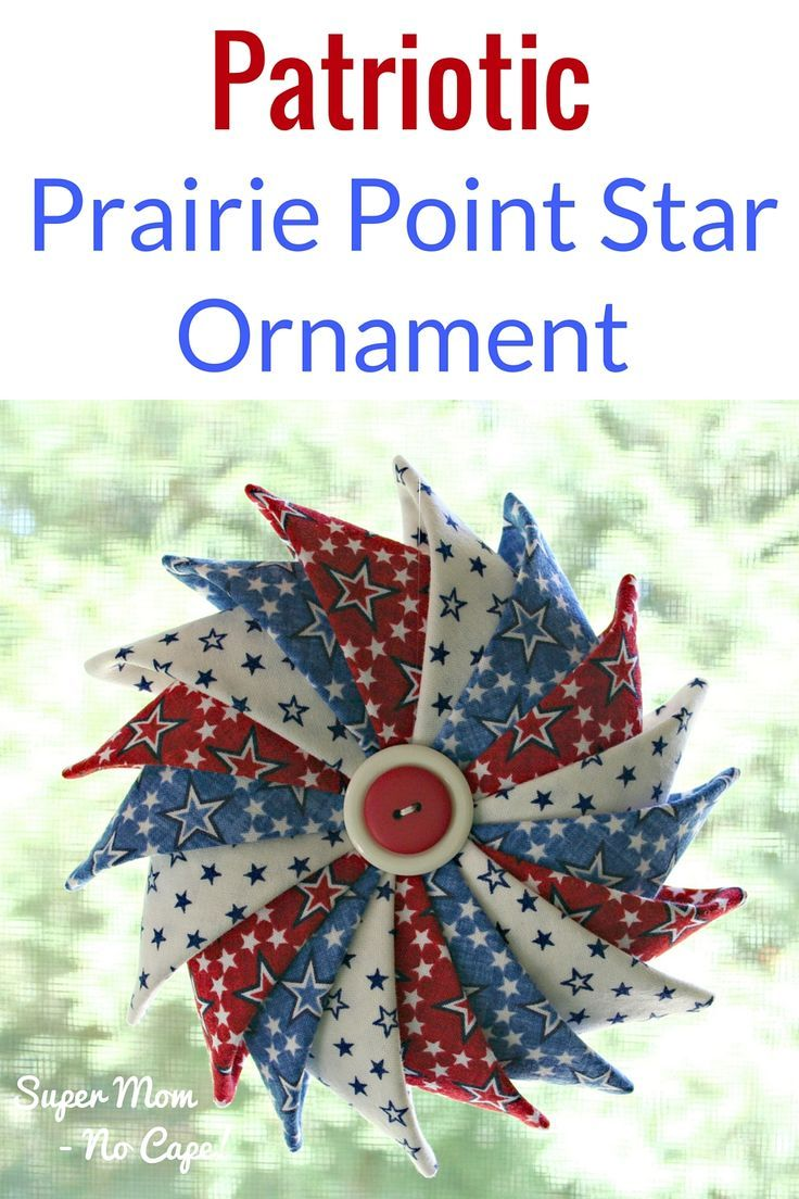 This beautiful Patriotic Prairie Point Star Ornament is the perfect decoration to make and hang in your window for the 4th! | Complete step-by-step tutorial with lots of photos!