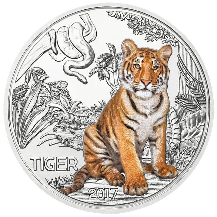 Die zweite Münze in unserer effektvollen Serie über die wunderbare Tierwelt: Der Tiger. Diese asiatische Großkatzenart mit dem blendenden Aussehen ist sowohl tag- als auch und vornehmlich nachtaktiv. Der Tiger auf unserer Münze ist in der Nacht besonders lebhaft; er braucht die Dunkelheit, um strahlen zu können. Das ist aber nicht der einzige Clou unserer Serie: Der Nennwert der Münzen beträgt 3 Euro, und sie sind gültiges Zahlungsmittel in Österreich.