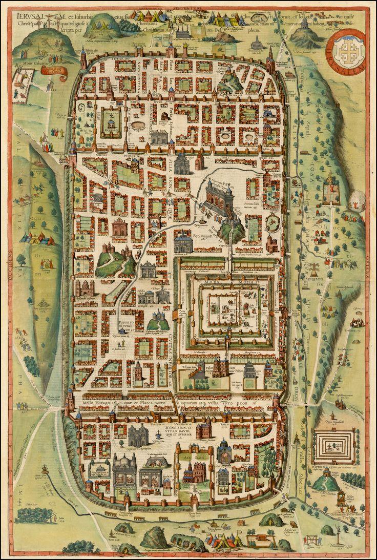 Fine example of Braun & Hogenberg's 2-sheet map of יְרוּשָׁלַיִם Yerushaláyim (Jerusalem), based upon Christian Van Adrichom's plan of ancient יְרוּשָׁלַיִם Yerushaláyim (Jerusalem) and its suburbs at the time of Yah-Zeus (Jesus Christ). Cologne, 1588.