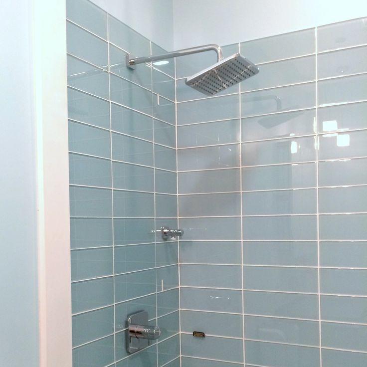 Lush Vapor 4x12 Pale Blue Glass Subway Tile Shower Installation Closeup Glass Subway Tile Subway Tile Showers
