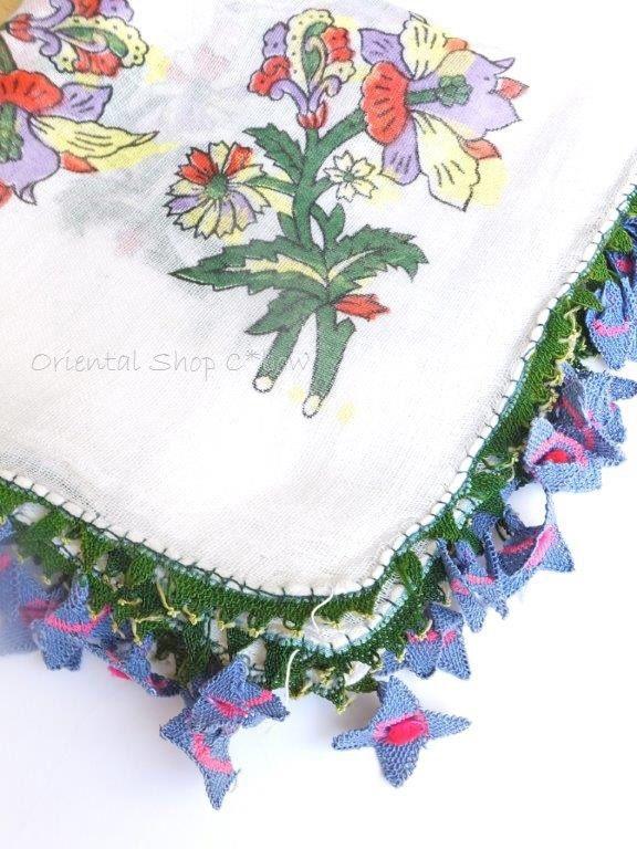 画像2: アイドゥン|アンティークオヤスカーフ|シルク糸|ブルーピンク