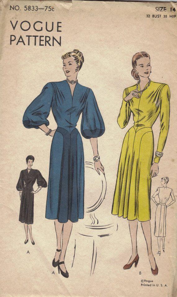 1940s Vogue Sewing Pattern One Piece Dress by AdeleBeeAnnPatterns, $28.501940S Vogue, Vogue Sewing, Dresses Easily, Fashion Pattern, Design Dresses, Vintage Sewing, Sewing Vintage, Vintage Pattern, Sewing Patterns
