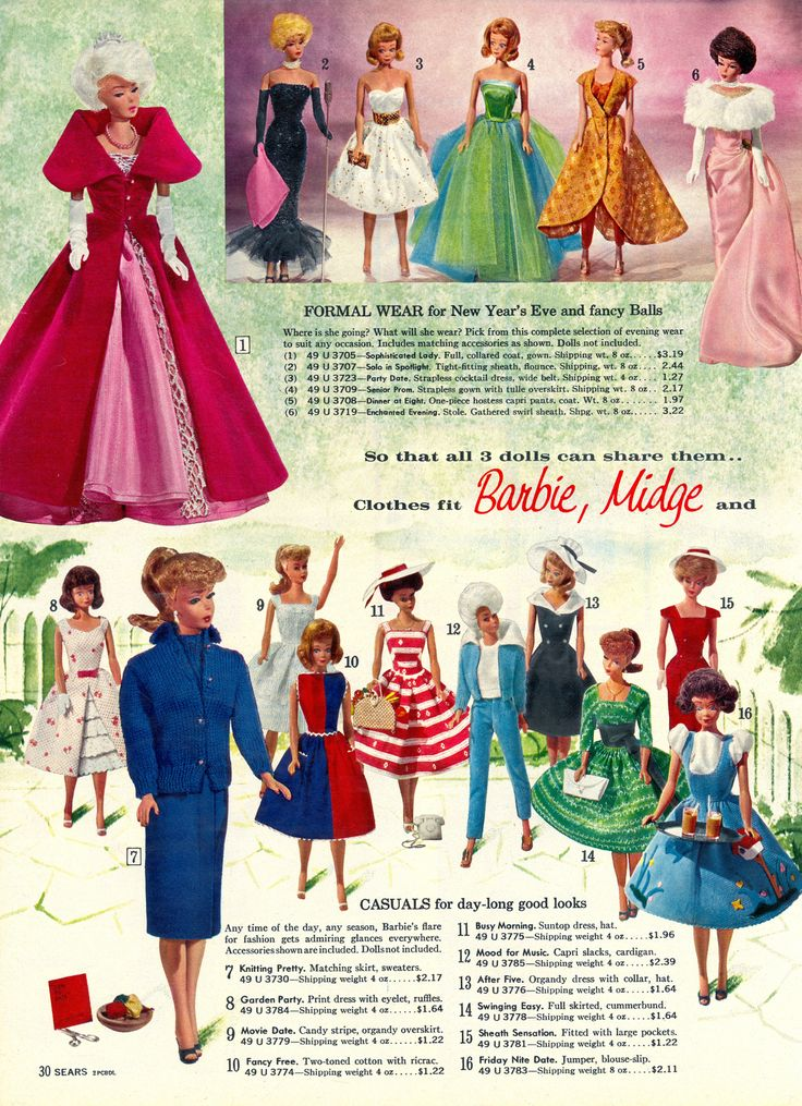Barbie fashions from the 'Sears Toy Book', 1963* Merry Xmas to all Pinterest friends my Xmas gift to you  1500 free paper dolls at The International Paper Doll Society also gift of free paper dolls at The China Adventures of Arielle Gabriel *
