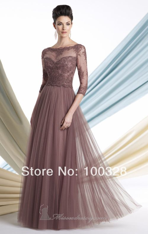 Find More Vestidos para Madre de la Novia Information about 2014 nuevo diseño por encargo un piso de línea longitud tribunal tren cucharada de encaje largo tres cuartos con madre de la novia vestidos,High Quality Vestidos para Madre de la Novia from Rose Wedding Dress Co., Ltd on Aliexpress.com