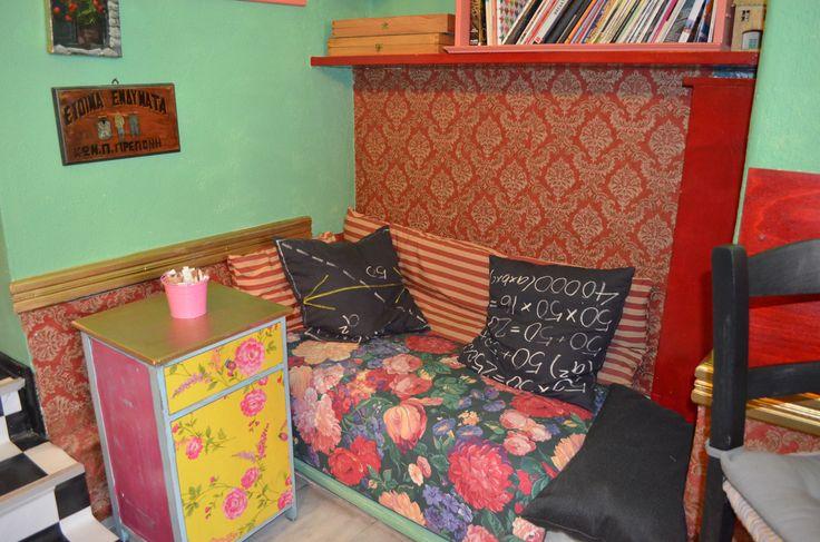 A warm corner in Kimolia Art Cafe in Plaka, Athens, Greece. Coffee time!