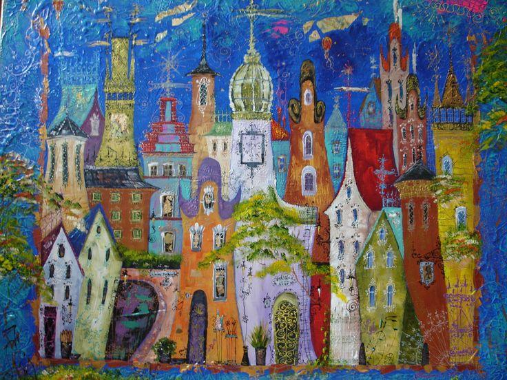 100x120, SOLD,,,Old City''Schilderijen van Tatyana Murova www.artterra.com