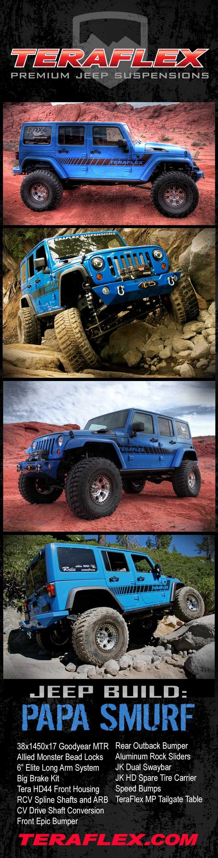 #TeraFlex Jeep Build, Papa Smurf: https://teraflex.com/galleries/550b3e2dd0b0de01f5000002
