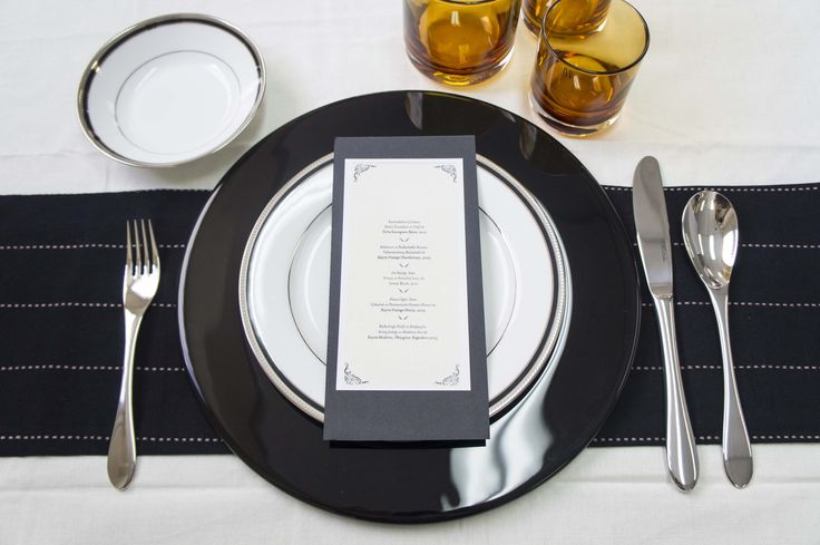 Modern table setting idea. Black and white table setting using Noritake Toorak Noir dinnerware combined with IVV Aria charger plate.
