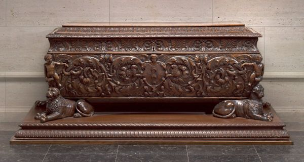 Florentine, first half of 16th century Cassone made for Strozzi family Walnut and poplar, 191.5 x 64.2 x 69.7 cm (75 3/8 x 25 1/4 x 27 7/16 in.) National Gallery of Art, Washington, DC, Widener Collection