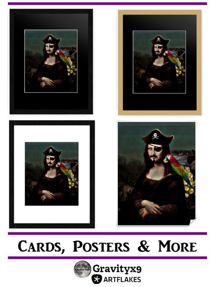 Mona Lisa Pirate Captain' art prints and cards by #gravityx9 - #ARTFLAKES - #monalisa #pirate #walldecor #wallart #framedart #poster  #spoofingthearts #artparody
