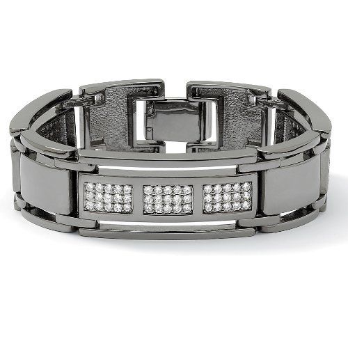 "Men's 4.50 TCW Round Cubic Zirconia Black Ruthenium-Plated Bar-Link Bracelet 8 1/2"" Palm Beach Jewelry. $89.99. Save 46% Off!"