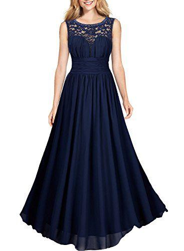 Miusol Damen Elegant Sommer Tr?gerkleid Faltenrock Rundhals Cocktailkleid Spitzen Langes Kleid Dunkelblau EU 42/L