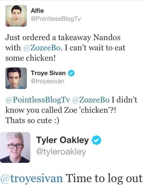 I cant believe troye eats chicken too! #tylerischicken #yummy #troyler