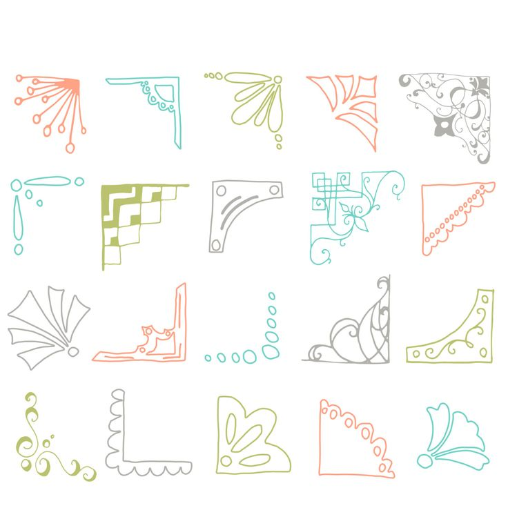 Colored Photo Corners Clip Art // Hand drawn by thePENandBRUSH