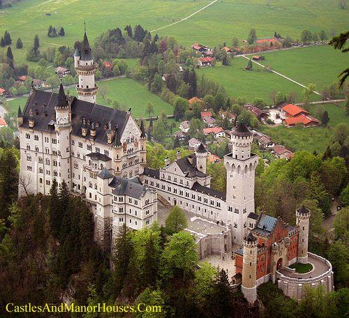Neuschwanstein CastleAbove the village of Hohenschwangau, Bavaria, Germany.http://www.castlesandmanorhouses.com/photos.htmNeuschwanstein Castle (Schloss Neuschwanstein) is a nineteenth-century Romanesque Revival palace.