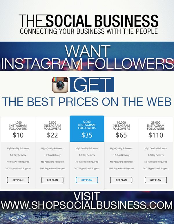 Buy Instagram Followers for the best prices on the web #instagram #buyfollowers #buyinstagramfollowers Visit http://shopsocialbusiness.com
