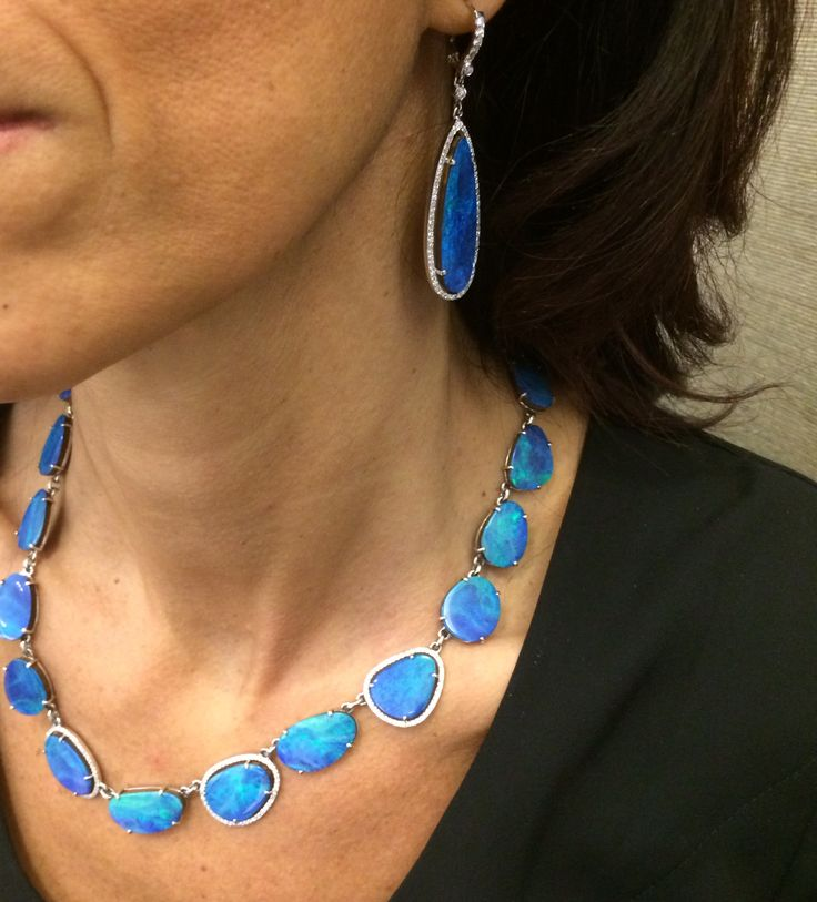 Outstanding opals paired with diamonds and white gold make this elegant Penny Preville necklace and earring set. Visit London Jewelers Americana Manhasset and meet the Penny Preville brand specialist from 12-5pm today! #londonjewelers #americana #pennypreville #opals #whitegold #diamonds #beautiful #love #stunning #pennypreville #elegant #earrings #necklace #collection