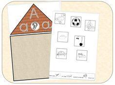Maison des sons (uniquement les voyelles) où l'enfant doit classer chaque image en fonction d'un son entendu dans le mot.