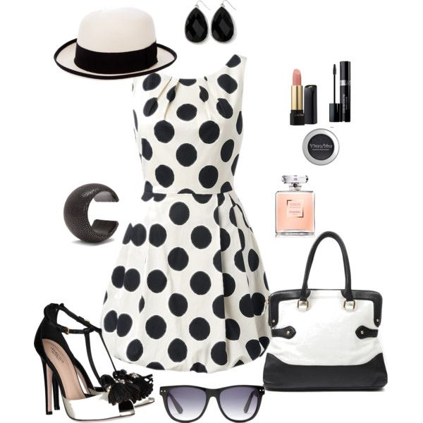 Bold in Black Polka Dots Summer Dress Outfit, created by tsteele
