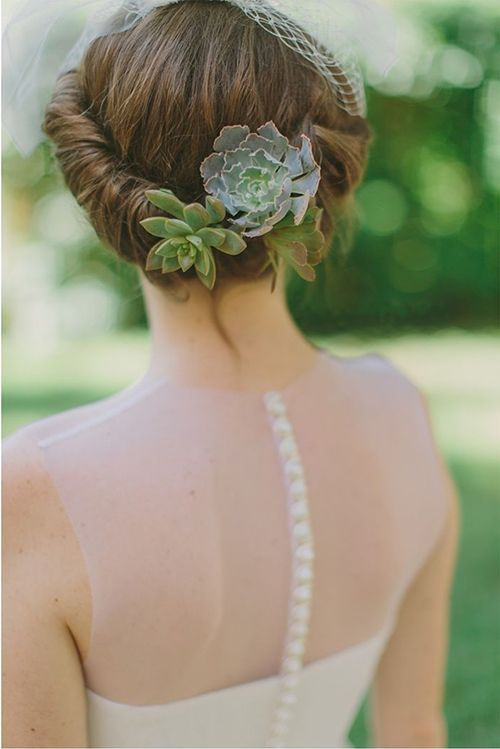 ... Bridal Hairstyles Featuring Succulents and Air Plants Brides.com