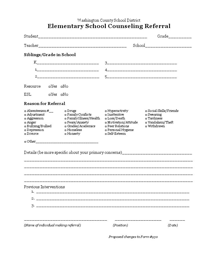 Best Social Work School Referral Forms Images On