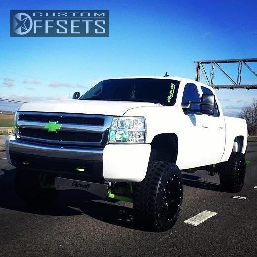 Wheel Offset 2008 Chevrolet Silverado 1500 Aggressive 1 Outside Fender Suspension Lift 6 Custom Rims