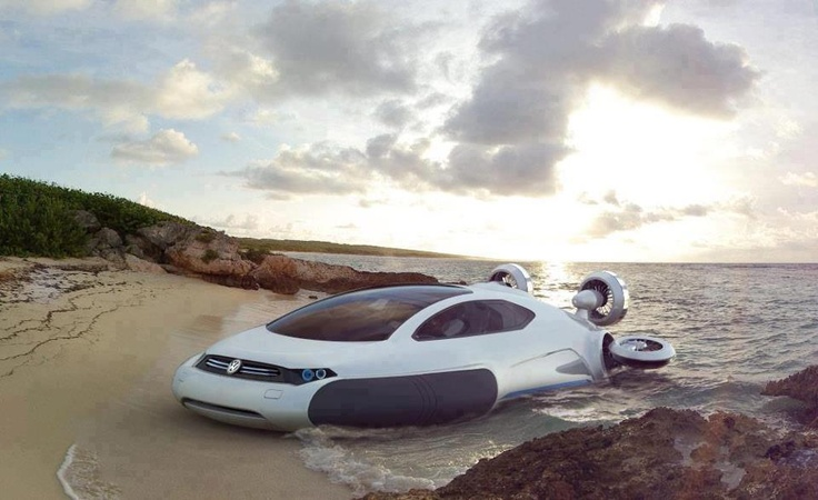 Volkswagen Aqua Hovercraft:  The beautiful Volkswagen Aqua Hovercraft hybrid vehicle won't be coming to market any time soon, but that doesn't mean it's not worth an ogle. Designed by 21-year-old Yuhan Zhang, the hydrogen-electric future-craft is powered by four electric motorized fans that provide lift and thrust, and it is kept aloft by a hydrogen fuel cell engine..
