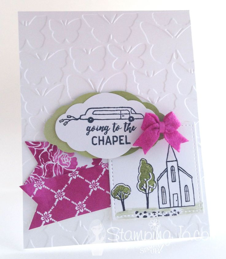 A fun, stamped wedding card using Stampin' Up's In The City Stamp Set.